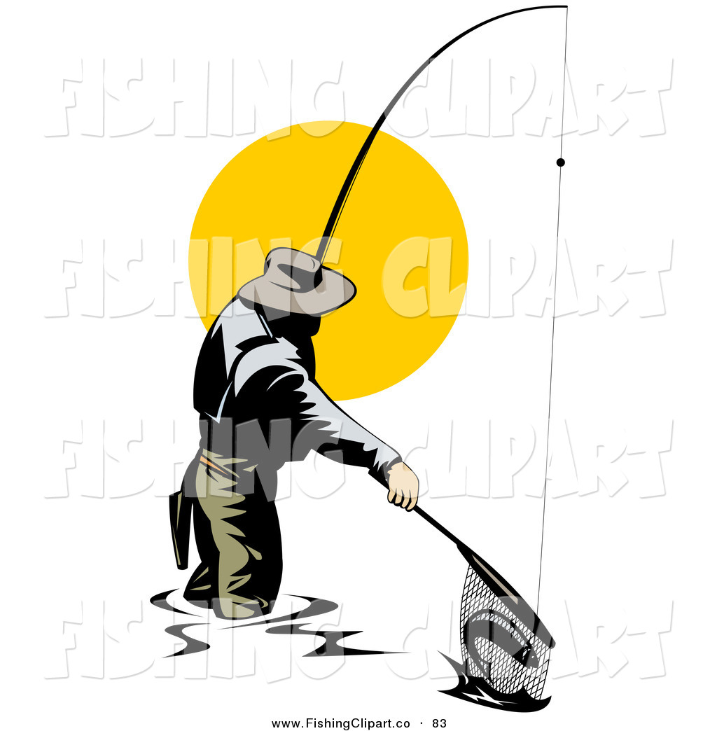 1024x1044 Clip Art Of A Fisherman Pulling A Fish In With A Net On White By