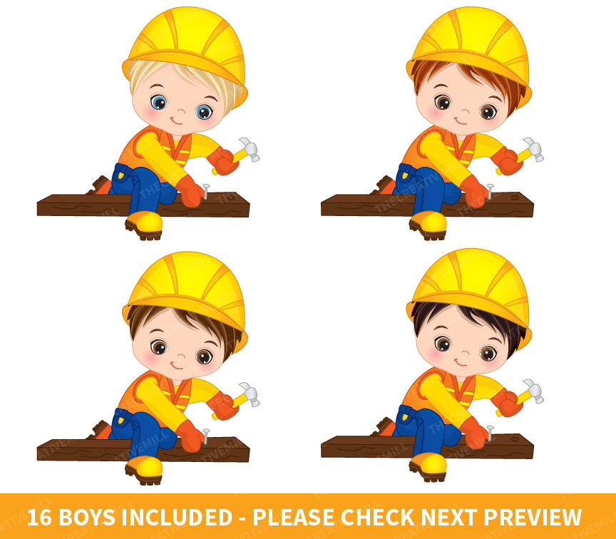 864x756 Construction Boys Clipart