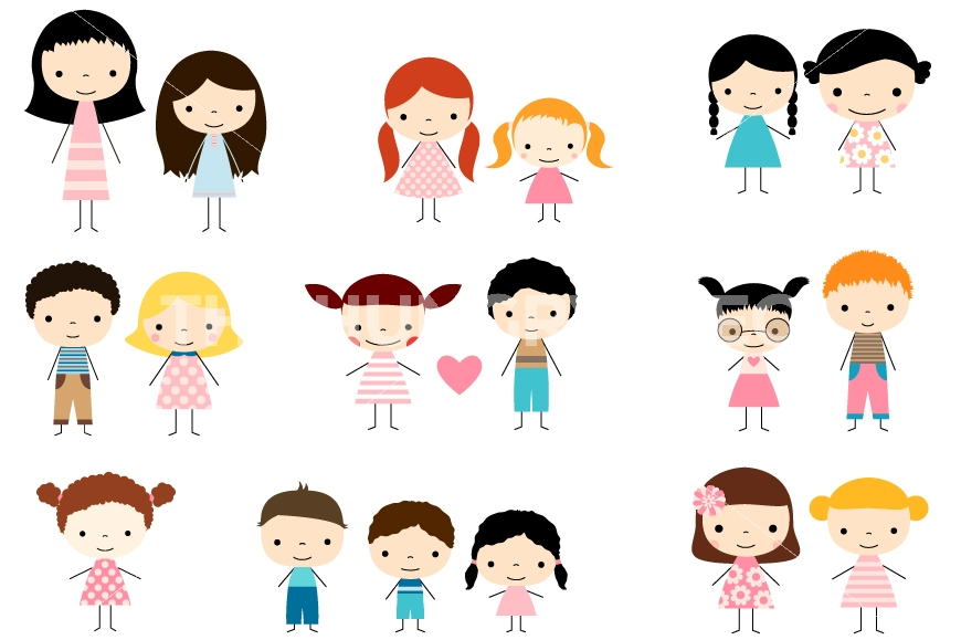 870x579 Cute Multicultural Children Stick Figures Clip Art, Boys And Girls