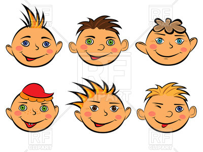 400x300 Funny Cartoon Faces Of Smiling Boys Royalty Free Vector Clip Art