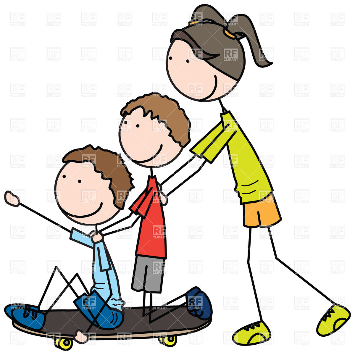 1200x1200 Girl pushing skateboard with two boys sitting on it Royalty Free