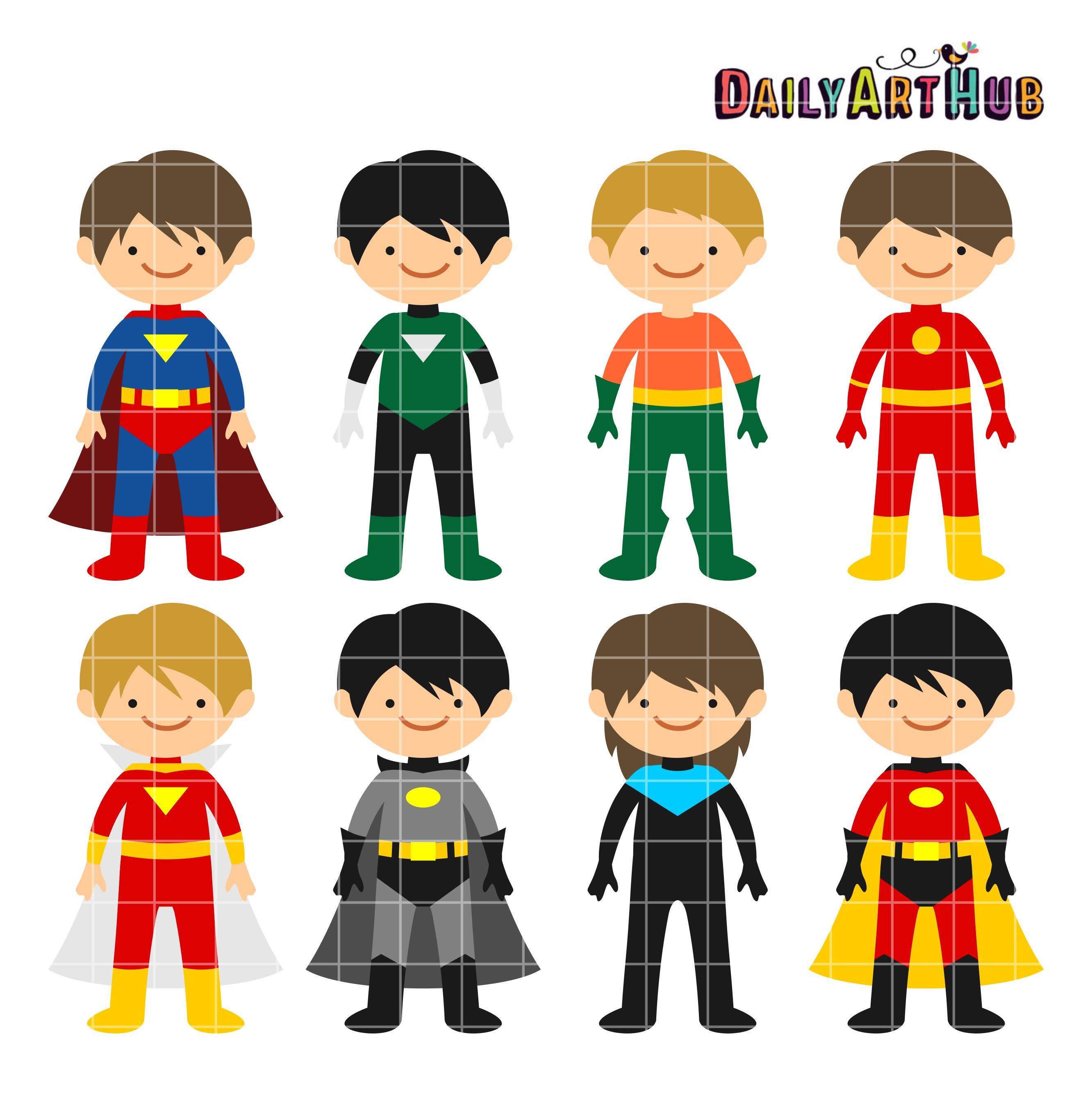 2664x2670 Superhero Boys Clip Art Set – Daily Art Hub – Free Clip Art Everyday