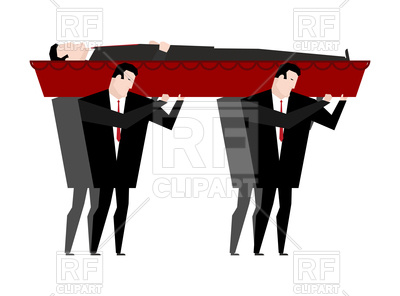 400x296 Funeral. Men Carry Coffin With Dead. Royalty Free Vector Clip Art