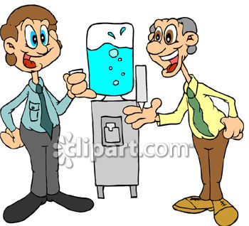 350x318 Two Men Gossiping Around The Water Cooler Clip Art