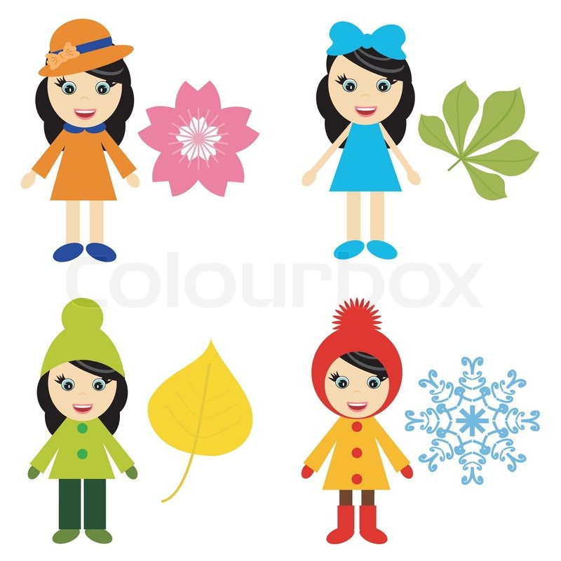 800x800 Four Nice Girls And Seasons Stock Vector Colourbox