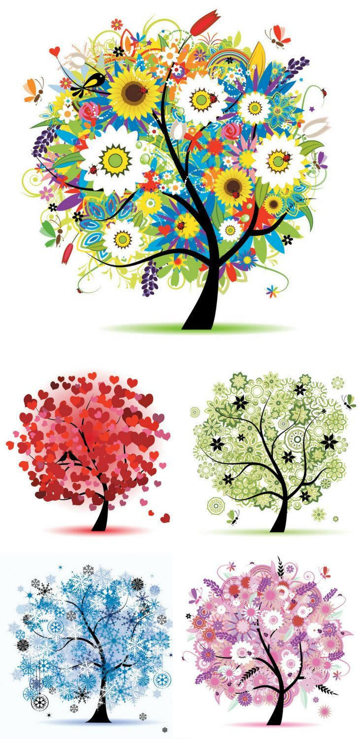 735x1500 Seasons Tree Vector Graphic Available For Free Download