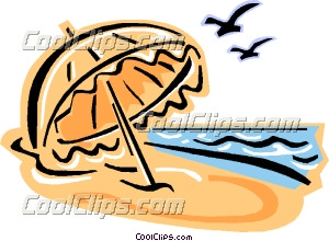 300x220 Beach Umbrella And Birds Clip Art