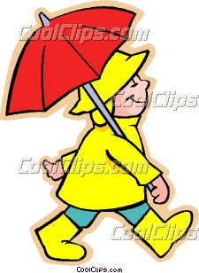 225x308 Boy With Umbrella Clip Art