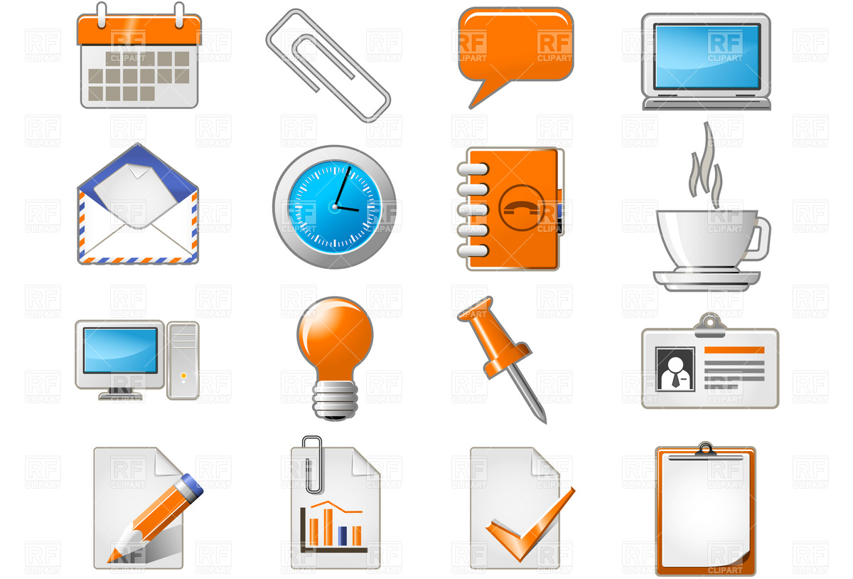 1200x814 Stationery And Office Icons Royalty Free Vector Clip Art Image