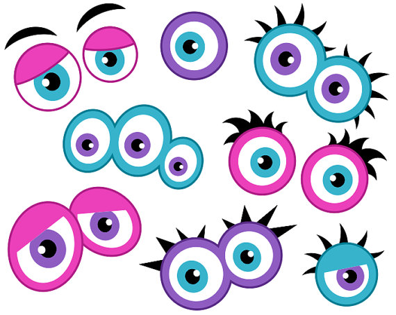 570x453 Girly Monster Eyes Digital Clip Art, Cute Monster Eyes, Girlish