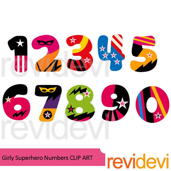 570x570 Superhero Clipart Sale Numbers Clip Art Girly Numbers