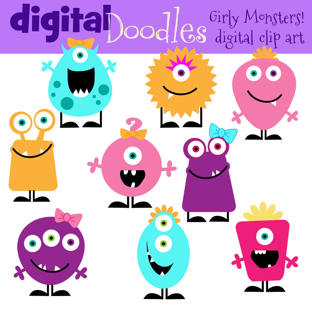 1000x1000 Girly Monster Clip Art Clipart Panda