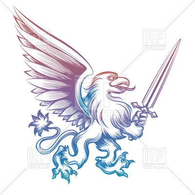 400x400 Colorful Hand Drawn Heraldry Griffon With Sword Royalty Free