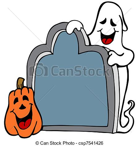 450x470 Tombstone Ghost Pumpkin. An Image Of A Halloween Ghost