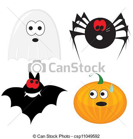 450x470 Cartoon Halloween Icon Set (Ghost, Pumpkin, Bat, Spider) . Eps