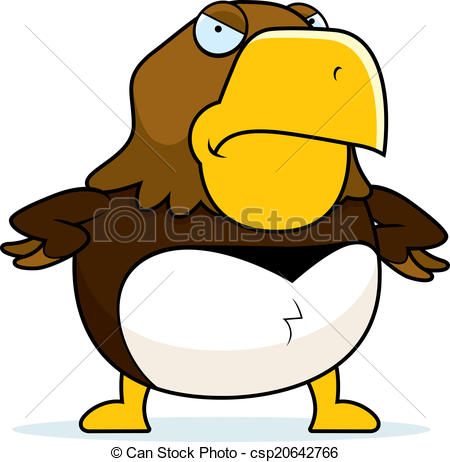 450x462 Angry Cartoon Hawk. A Cartoon Hawk With An Angry Expression. Clip