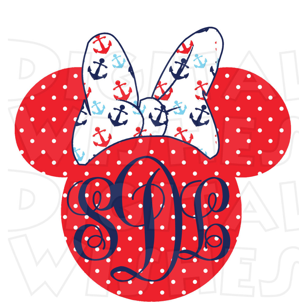 975x1000 Minnie Mouse Head Monogram Nautical Disney Cruise Minnie Mouse