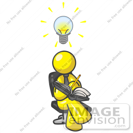 450x450 Clip Art Graphic Of A Yellow Guy Character Jotting Ideas Down