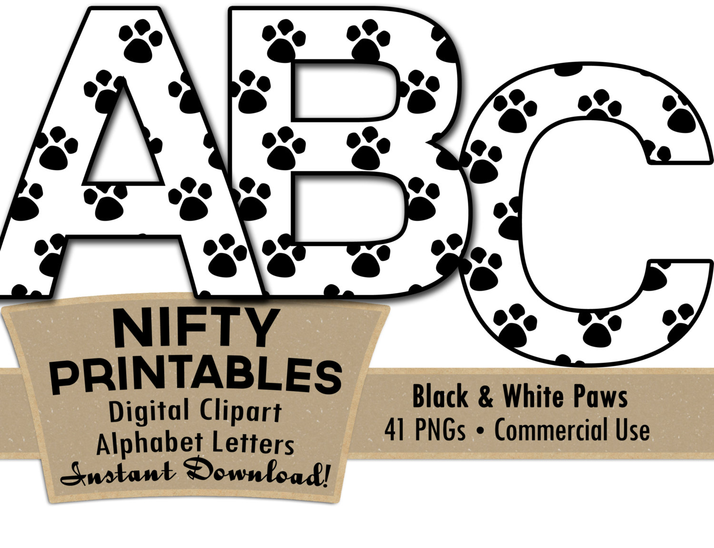 1500x1150 Paw Prints Alphabet Letters Set