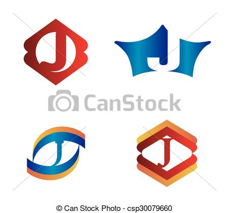 450x419 Letter J Set Alphabetical Logo Design Concepts Clip Art Vector