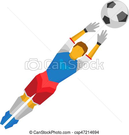448x470 Jumping Football Goalkeeper Catches The Ball. Isolated On Eps
