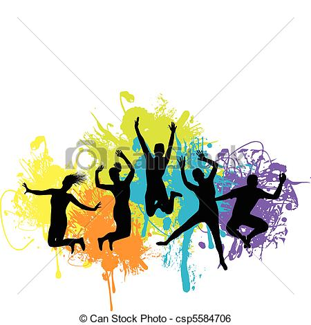 450x470 Silhouettes Of People Jumping And Dancing Clip Art Vector