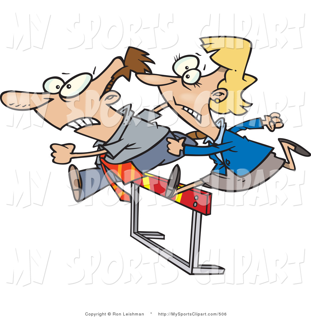 1024x1044 Sports Clip Art Of A Man And Woman Jumping A Hurdle By Toonaday