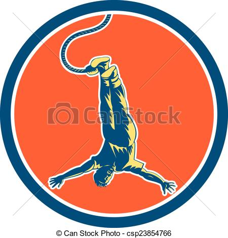 450x470 Bungy Jumping Retro Circle. Illustration Of A Man Bungy Or Clip