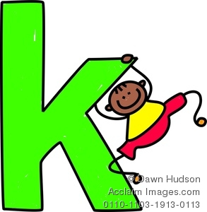 293x300 Clipart Image Of A Happy Little Boy Climbing Over A Giant Letter K