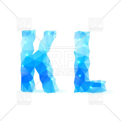400x400 Crystal Style K And L Letters Royalty Free Vector Clip Art Image