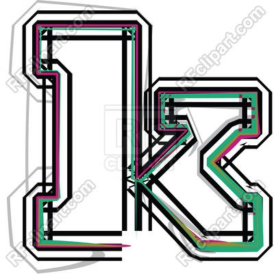 400x400 Line Font Illustration Letter K Royalty Free Vector Clip Art Image