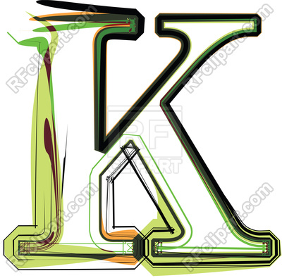 400x395 Organic Type Letter K Royalty Free Vector Clip Art Image
