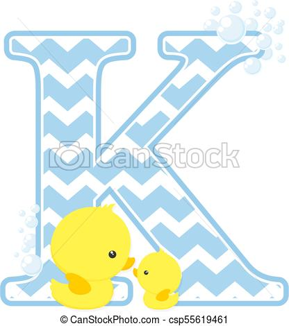 416x470 Baby Duck Initial K. Initial K With Bubbles And Little Baby