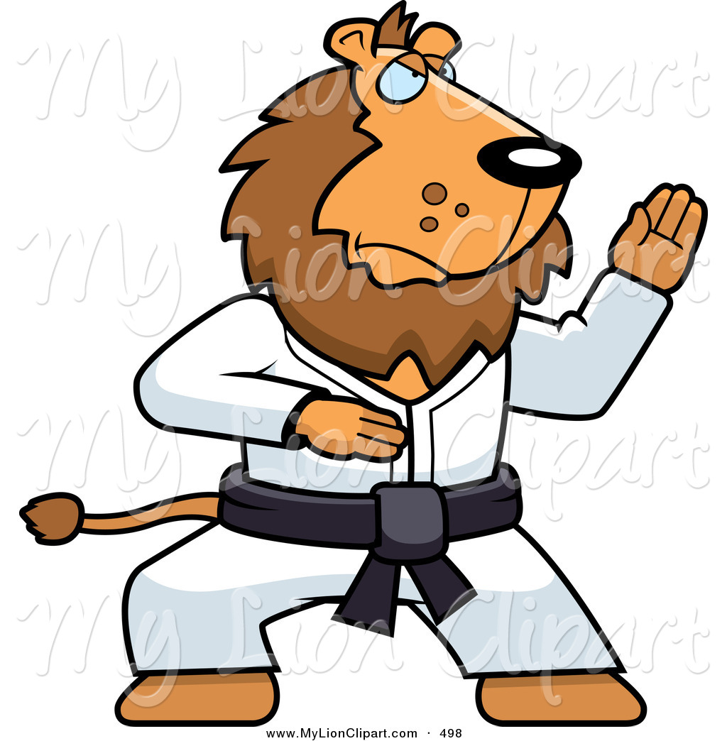 1024x1044 Clipart Of A Karate Lion With A Black Belt By Cory Thoman