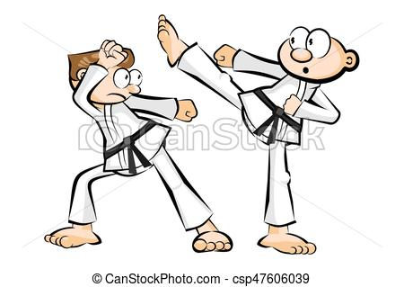 450x319 Karate Fighters Isolated On White Background. Conceptual