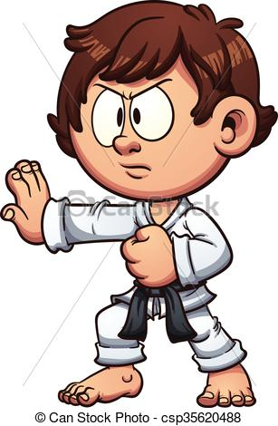 307x470 Karate Kid. Cartoon Kid Practicing Karate. Vector Clip Art