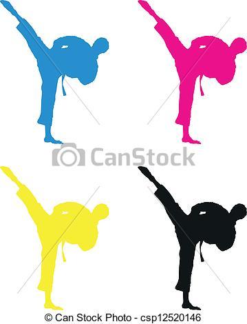 359x470 Karate Silhouette Eps Vector