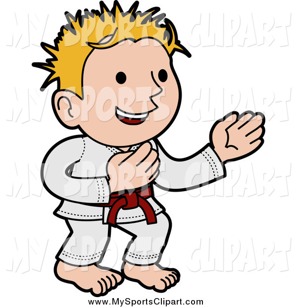 600x620 Sports Clip Art Of A Blond Karate Boy Standing In A Pose By