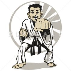 236x236 Sports Clipart Image Of Black White Martial Arts Man Muscles