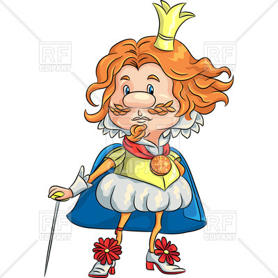 400x400 Fairytale Cartoon Sad King With Golden Crown Royalty Free Vector