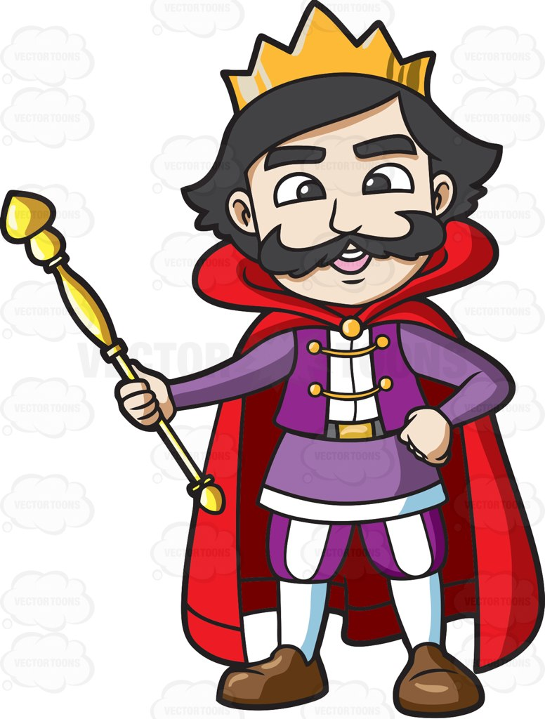 776x1024 A Happy King Holding His Staff Cartoon Clipart Vector Toons