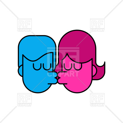 400x400 Kiss Icon. Lovers Kissing. Royalty Free Vector Clip Art Image