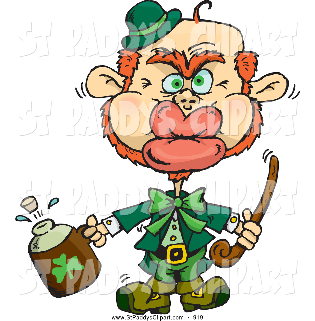 1024x1044 Vector Clip Art Of A Leprechaun Puckered For A Kiss On St Patricks