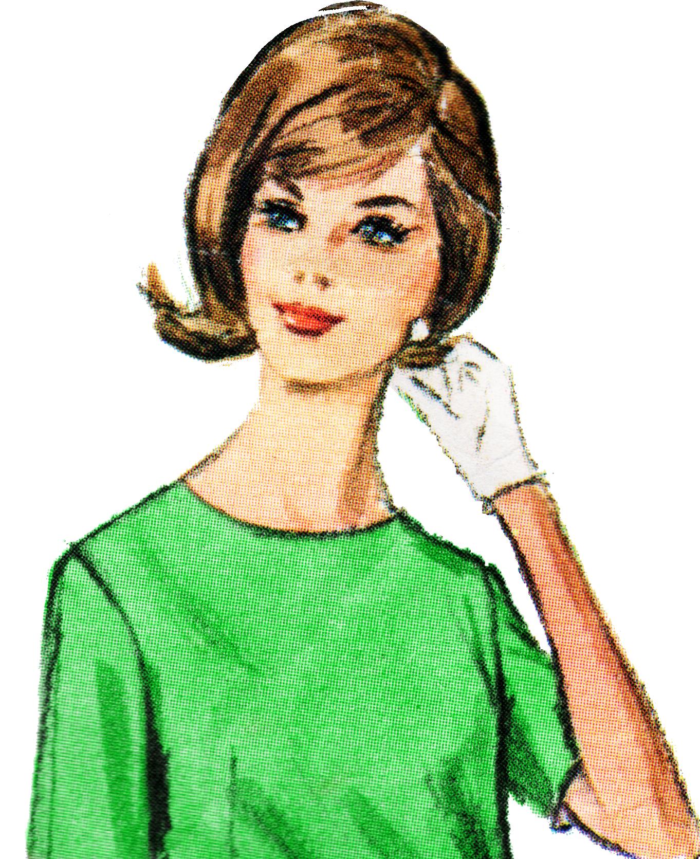 1362x1671 Free Retro Lady Clip Art