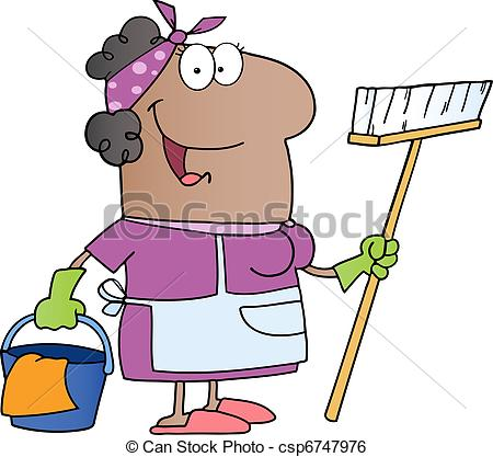 450x417 African Amerikan Cleaning Lady Cartoon Character Clip Art Vector