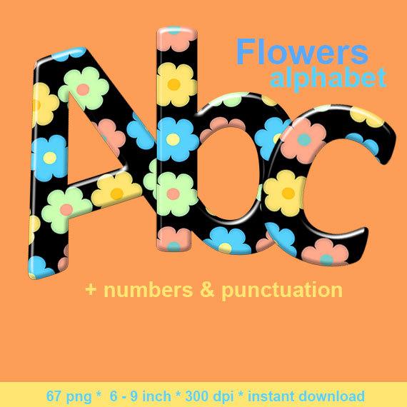 570x570 Flower Alphabet Clipart, Hippie Letters, Printable Pastel Font