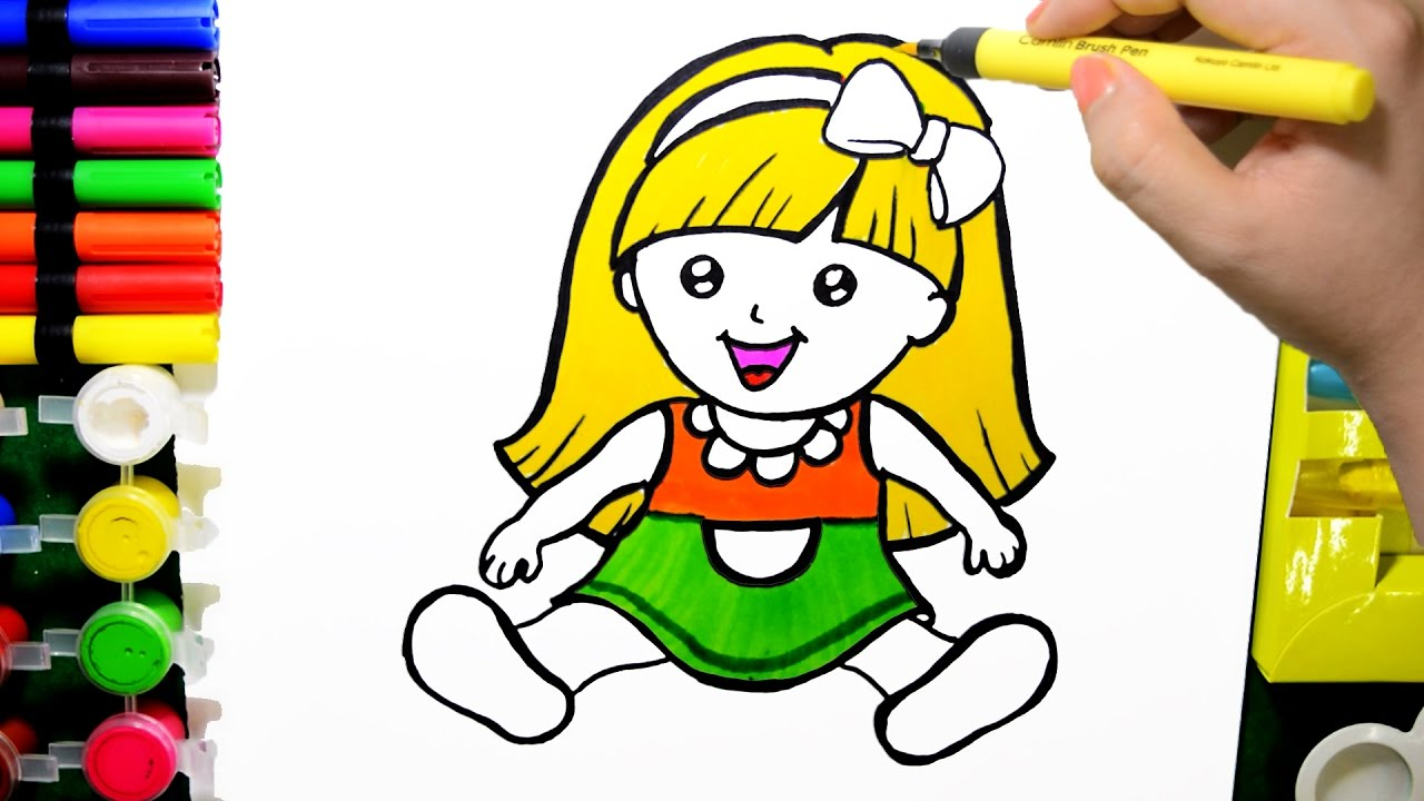 1280x720 How Draw Color Paint Cute Baby Doll Coloring Page And Learn