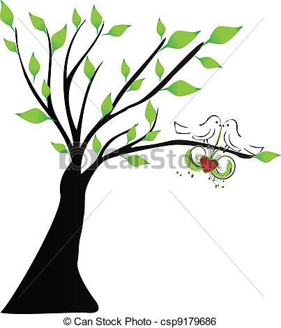 403x470 Love Birds Hanging A Heart In A Tree Clip Art Vector