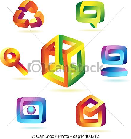 442x470 Magic Icons. Paradoxical Icons Of Iridescent Colors. Vector