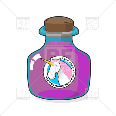 400x400 Magical Potion From Horn Of Unicorn Royalty Free Vector Clip Art